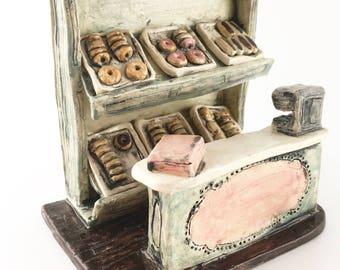 Classic old fashioned donut/doughnut shop counter ceramic miniature diorama