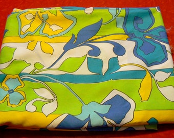 Vintage Retro Floral Fabric 1970s by Klopman Mills Groovy Retro Blues Yellows Greens