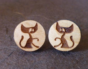 Cute Cat Wooden Earrings