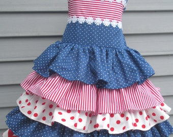 Ready to Ship Custom Boutique Patriotic American Red White Blue Ruffled Dress Girl Will Size Size 5 or 6