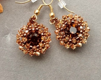 Sidonia, Smoky Topaz Crystal Earrings, Bezel Chatons, Gift for Her, Beadwork Earrings, Beaded Drop Earrings, September Birthday, MOCHA