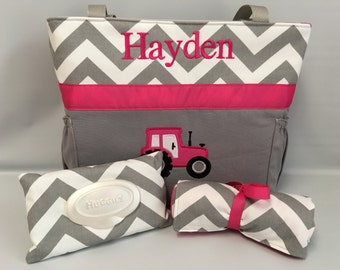 Tractor   ...  Diaper Bag .. Changing Pad  ...  WIPE Cover Set ... Gray Chevron ... Hot PINK Accents