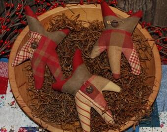 SET of THREE Primitive Shape Quilt Top Star Tucks Christmas Bowl Fillers Red Homespun Ornies