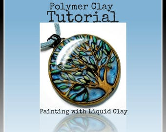 Polymer clay Tutorial- Jewelry Tutorial- How to Paint with Kato Liquid Polymer Clay Pendant Tutorial DIY Crafts Easy Tutorial Necklace