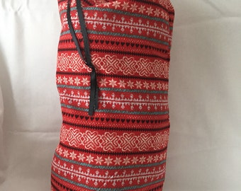"""Christmas Fabric Gift Bag  Eco Friendly Drawstring Bag----Reuseable size 9.5"""" wide x 18"""" tall Red and Gray SnowFlakes"""