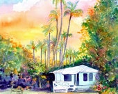 kauai plantation cottages, kauai art, 8x10 prints, hawaii art, hawaiian paintings, sunset, waimea cottage, tropical sunsets, houses, cottage