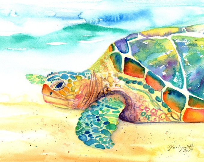 turtle original watercolor, sea turtle paintings, rainbow turtles, kauai fine art, original watercolors,  hawaiian honu,  hawaii kauai