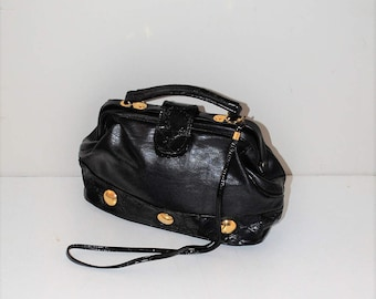80s vintage doctors bag 1980s vintage black + gold vegan leather crossbody handbag purse