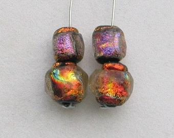 4 Pack Winging It Series Basha Beads, Tiny Red/Fuchsia Handmade Lampwork Glass, Organic, Bright Colorful Statement Art Beads, Antique Look