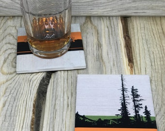 Forest Ceramic Coaster, Mountain Drink Coaster, Ski Coaster, Tile Table Coaster, Cork Tile Coaster