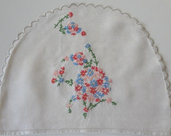 Vintage Tea Cozy Multicolored Flowers Asymmetrical Art Deco Style Hand Embroidered Cosy on Natural Linen - EnglishPreserves