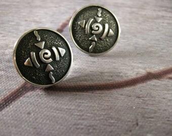 vintage sterling silver pierced earrings, pierced post earrings, round, with symbols, darkened oxidized background