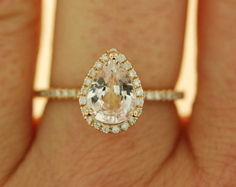 reserved custom order - Pear cut sapphire ring.  Peach champagne sapphire ring. 14k rose gold diamond ring engagement ring