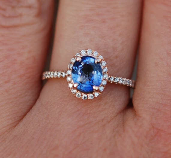 Rose gold sapphire ring. 2.14ct blue sapphire diamond ring 14k rose gold oval engagement ring