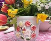 Pre Sale Porcelain Cache Pot with Floral and Lamb Wreath , Handmade Cache Pot, White Flower Pot with Lamb Wreath
