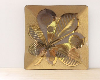 Chestnut Leaf. Georges Briard large gold mid century glass tray or dish.