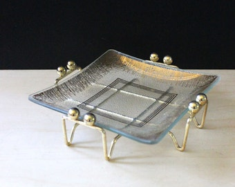 Mid century modern glass candy dish with caddy. Gold accents.