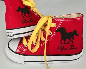 Personalized Infant and Kids Custom Stallion Horse Pony High Top Converse Shoes