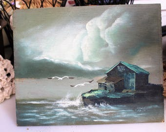 Oil painting on wood, storm clouds, rough seas, blues, greys, shack