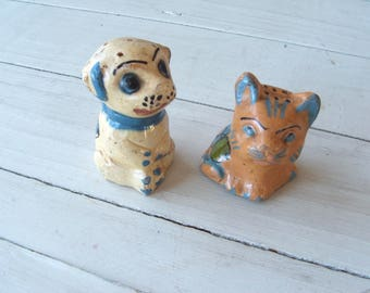Vintage Mexico Redware Pottery Dog and Cat Salt and Pepper Shakers