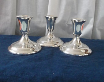 3 Vintage Silver Plate Candle Holders Silver Plate Candlesticks Silver Candleholders Wedding Decorations Table Decor French Country  Set
