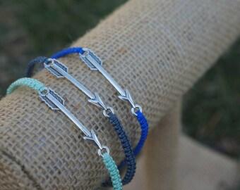 Arrow Macrame Bracelet, Handmade by Artefacet, Silver Arrow Charm Bracelet