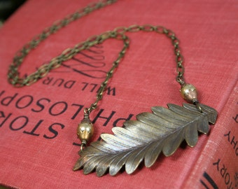 SALE - Leaf and Pearl Necklace