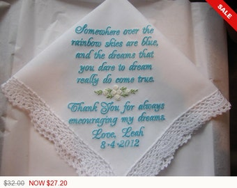 Sale -  Custom Embroidered Dreams Come True Personalized Wedding Handkerchief