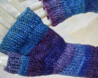 Purple Blue Long Gloves Arm Warmers Bright Stripes Asymmetrical Luxury Merino Fingerless Gloves Fingerless Mitts Hand dyed yarn