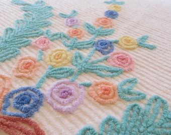 Vintage Chenille Bedspread Pinks Aqua Purples Yellows Floral on White - 91 x 103 Shabby Perfect Summer Cottage