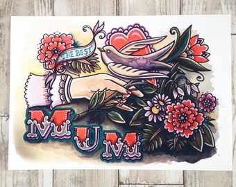 The Best MUM, Mother's Day Gift, Art Print. A4 Watercolour Painting with swallow and flowers.