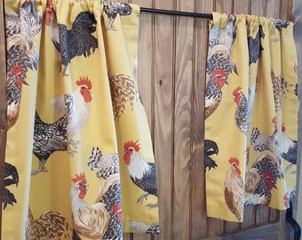 Chicken Kitchen Cafe Curtains - 2 panels/ 1 pair - Custom sizes and matching valance available