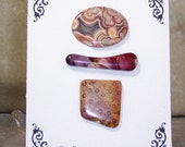 OOAK Bead Embroidery Focal Starter Kit Featuring Laguna Lace Agate, Moukaite, and Fossilized Indonesian Coral by SeaStar1