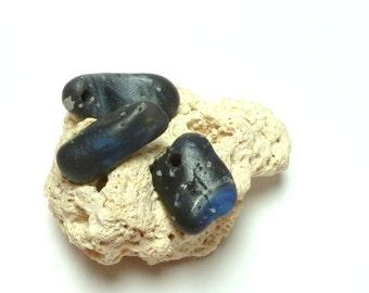 Leland Blue Slag Glass STARRY NIGHT Beach Stone Pebble Jewelry Beach Set Sea Glass Rocks Drilled River Rock