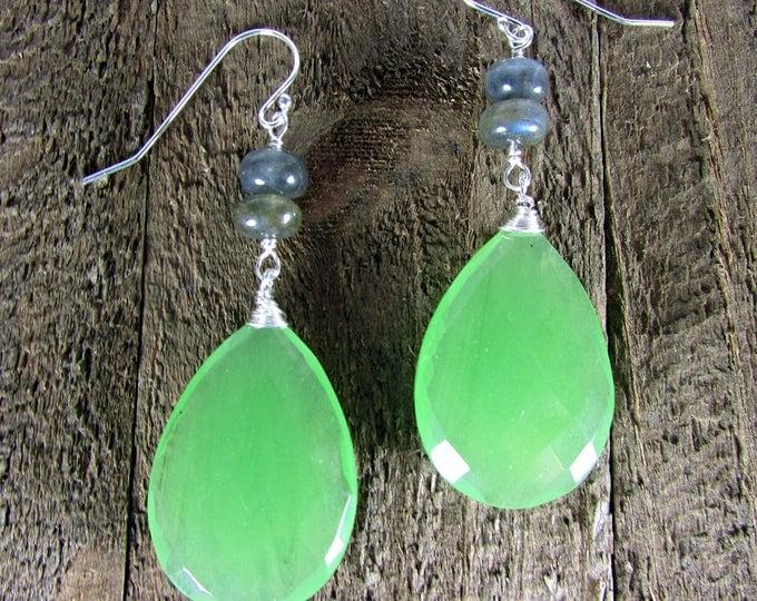 Green Chalcedony Gemstone Earrings, Long Earrings, Bold Earrings, Chalcedony & Labradorite Earrings