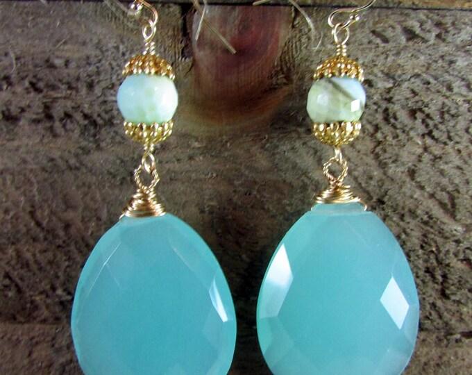Chalcedony & Peruvian Opal Gold Earrings, Gemstone Earrings, Long Earrings