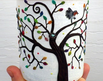 Mom Robin and nest with eggs in a Rainbow Tree Sculpted with Polymer Clay onto a Recycled Glass Candle Holder on White