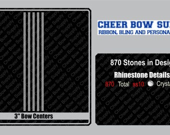 """3"""" Cheer Bow Bow Centers/Double Line Rhinestone Strip 3"""" X 13"""" INSTANT FILE DOWNLOAD"""