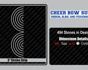 """3"""" Cheer Bow Circles Rhinestone Strip 3"""" X 13"""" INSTANT FILE DOWNLOAD"""