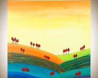 "30"" Large wall art landscape oil painting square art canvas art Original art ""Autumn Hills"" by QIQIGALLERY"