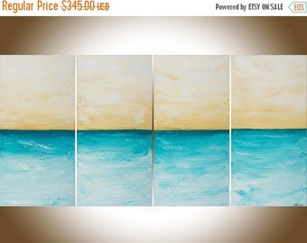 """Large Abstract Seascape painting Contemporary wall art home office wall decor blue white canvas art shabby chic """"Just Breath"""" by QIQIGALLERY"""