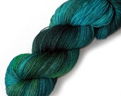 Euro Fingering Yarn 820 yards Handdyed Superwash Merino - Blue Eden