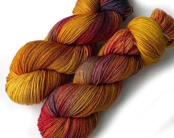 Hand Dyed Yarn Merino Nylon Sock Yarn, 433 yards, Bittersweet