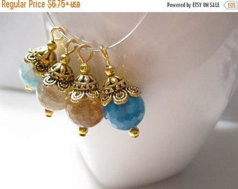 50% Off Earring Drop, Pendant, Asorted Faceted 12mm Fire Agate Charms, Agate Earring Drops Antique Gold Earring Drops, Dangles  DA1003B J16