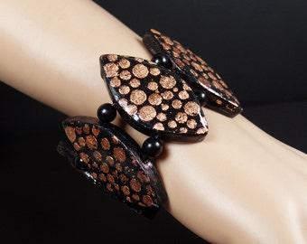 Polymer clay, stretch cuff bracelet, copper and black