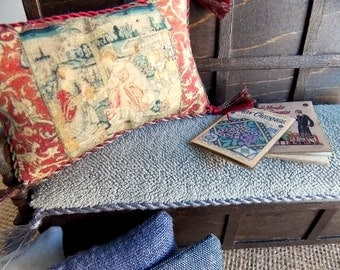 Miniature Dollhouse Furniture...1:12 Scale Dressed Settle...1 Inch Scale...Arts and Crafts...William Morris Decor