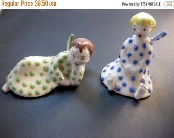 HOLIDAY SALE - Vintage Pair of Ceramic Angels, Table Decor, Holiday, Blue and Green Angels