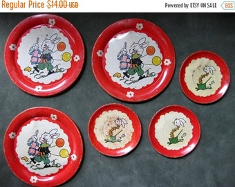 HOLIDAY SALE - Vintage Set of Six Bunny Tin Dishes, Ohio Art Dishes, Easter Bunny