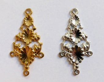 Vintage Silver or Gold Plated Earring Drops 3:1   31x16mm  (4)
