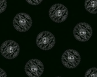 ENCYCLOPEDIA GALACTICA ORBIT Black Mathematical Planet Illustration Quilt Fabric - by the Yard, Half Yard, or Fat Quarter Fq by Suite 1500